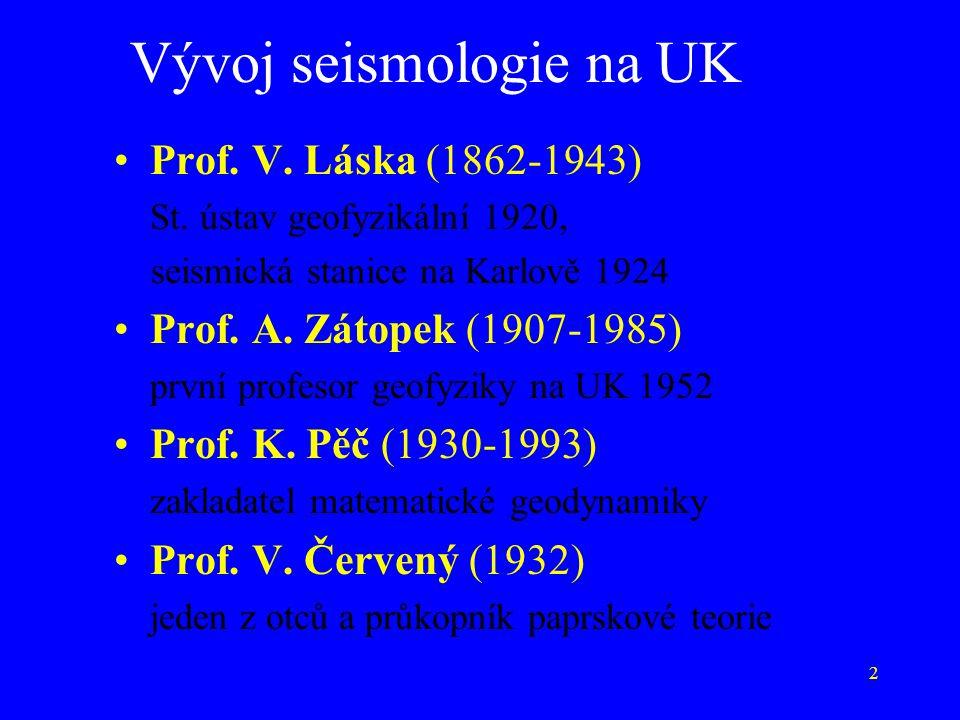 2 Vývoj seismologie na UK Prof. V. Láska (1862-1943) St. ústav geofyzikální 1920, seismická stanice na Karlově 1924 Prof. A. Zátopek (1907-1985) první