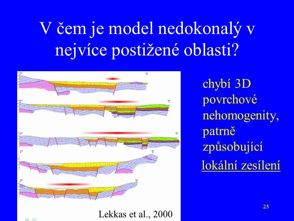25 V čem je model nedokonalý v nejvíce postižené oblasti? Lekkas et al., 2000 chybí 3D povrchové nehomogenity, patrně způsobující lokální zesílení