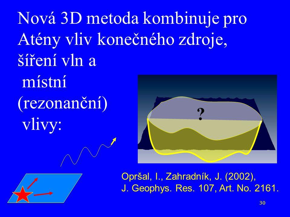 30 Nová 3D metoda kombinuje pro Atény vliv konečného zdroje, šíření vln a místní (rezonanční) vlivy: Opršal, I., Zahradník, J. (2002), J. Geophys. Res