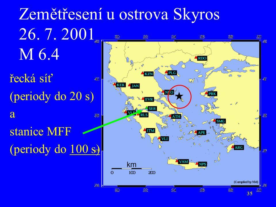 35 Zemětřesení u ostrova Skyros 26. 7. 2001 M 6.4 řecká síť (periody do 20 s) a stanice MFF (periody do 100 s)