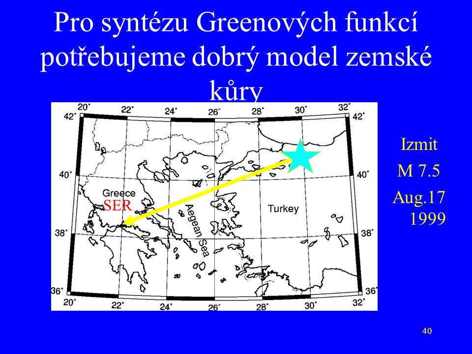 40 Pro syntézu Greenových funkcí potřebujeme dobrý model zemské kůry Izmit M 7.5 Aug.17 1999 SER