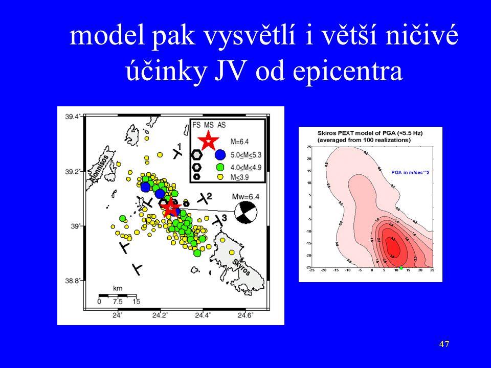 47 model pak vysvětlí i větší ničivé účinky JV od epicentra
