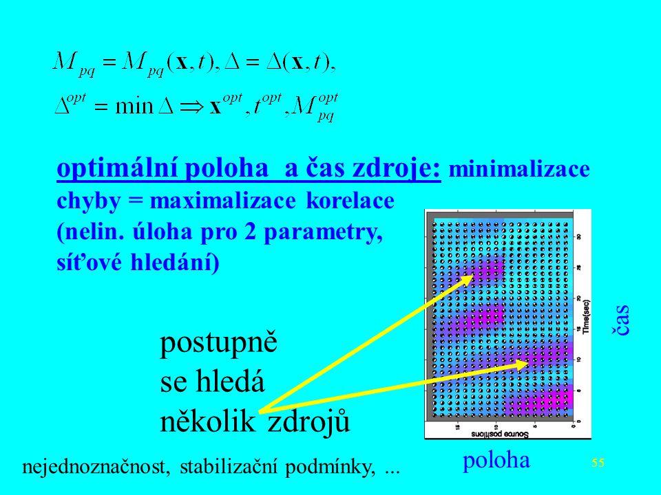 55 optimální poloha a čas zdroje: minimalizace chyby = maximalizace korelace (nelin. úloha pro 2 parametry, síťové hledání) postupně se hledá několik