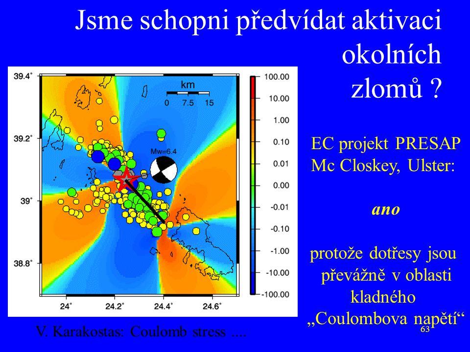 """63 Jsme schopni předvídat aktivaci okolních zlomů ? EC projekt PRESAP Mc Closkey, Ulster: ano protože dotřesy jsou převážně v oblasti kladného """"Coulom"""