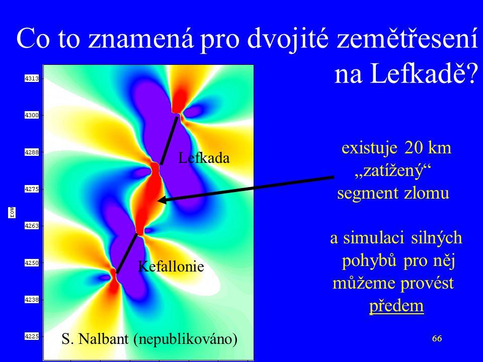 """66 Co to znamená pro dvojité zemětřesení na Lefkadě? existuje 20 km """"zatížený"""" segment zlomu a simulaci silných pohybů pro něj můžeme provést předem S"""