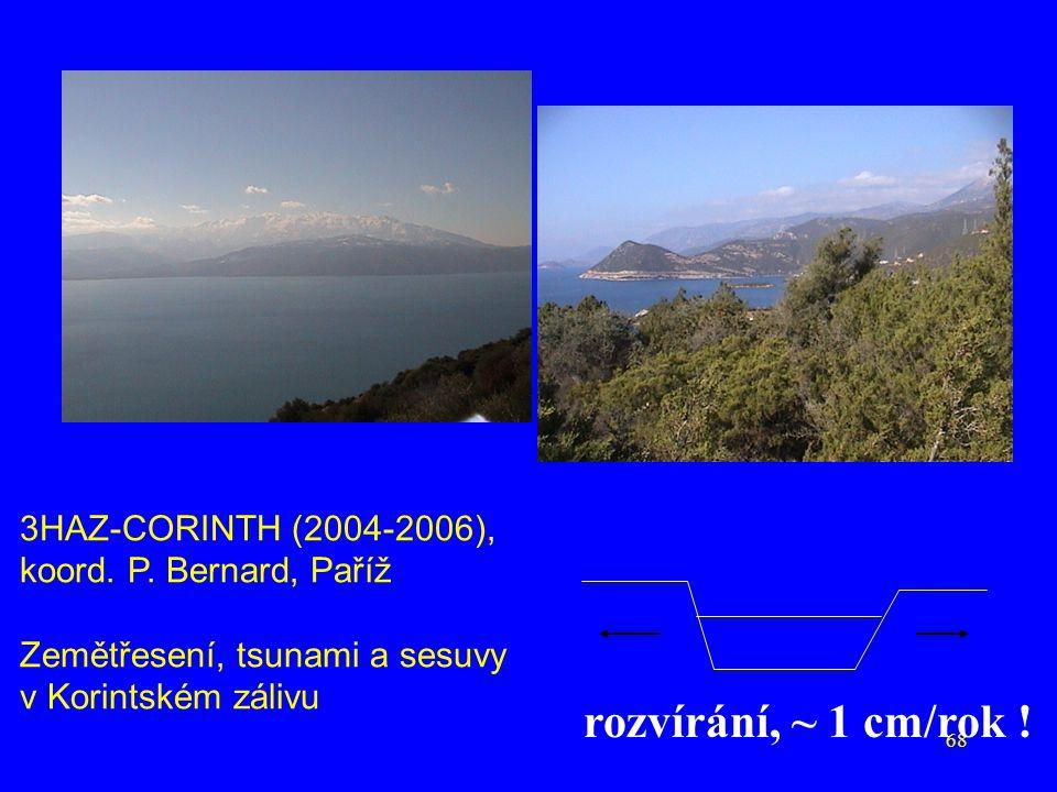 68 rozvírání, ~ 1 cm/rok ! 3HAZ-CORINTH (2004-2006), koord. P. Bernard, Paříž Zemětřesení, tsunami a sesuvy v Korintském zálivu