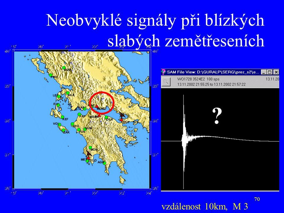 70 Neobvyklé signály při blízkých slabých zemětřeseních vzdálenost 10km, M 3 ?
