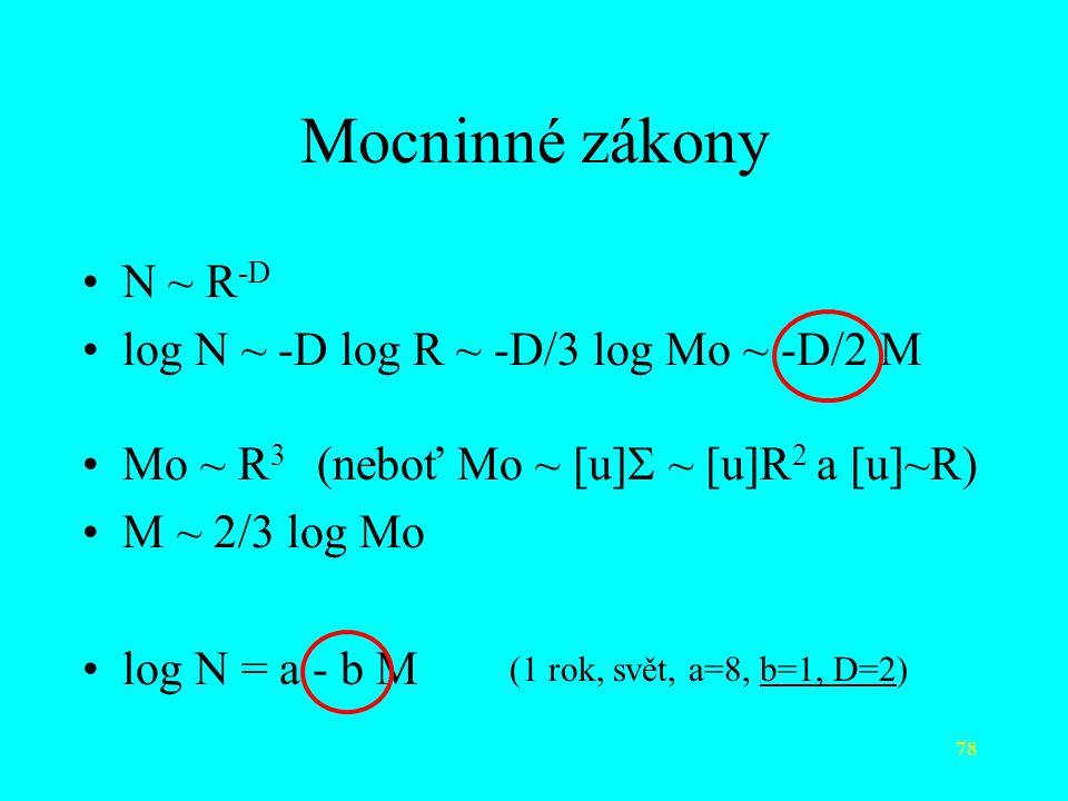 78 Mocninné zákony N ~ R -D log N ~ -D log R ~ -D/3 log Mo ~ -D/2 M Mo ~ R 3 (neboť Mo ~ [u]  ~ [u]R 2 a [u]~R) M ~ 2/3 log Mo log N = a - b M (1 rok