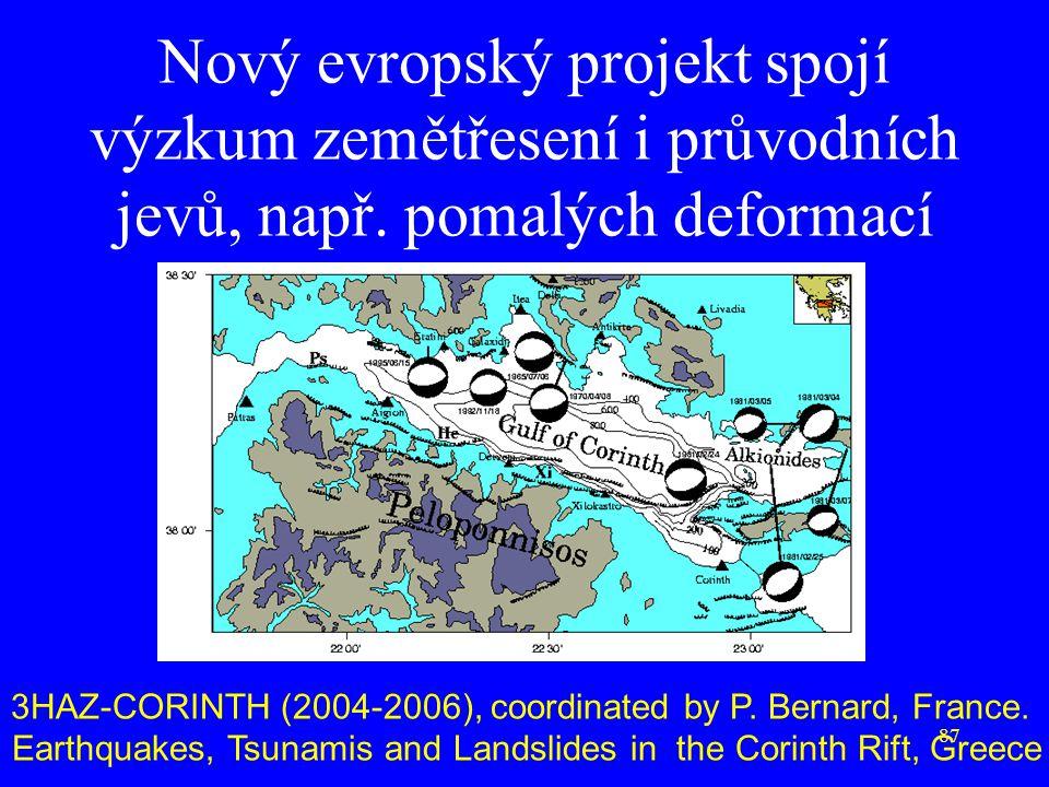 87 Nový evropský projekt spojí výzkum zemětřesení i průvodních jevů, např. pomalých deformací 3HAZ-CORINTH (2004-2006), coordinated by P. Bernard, Fra