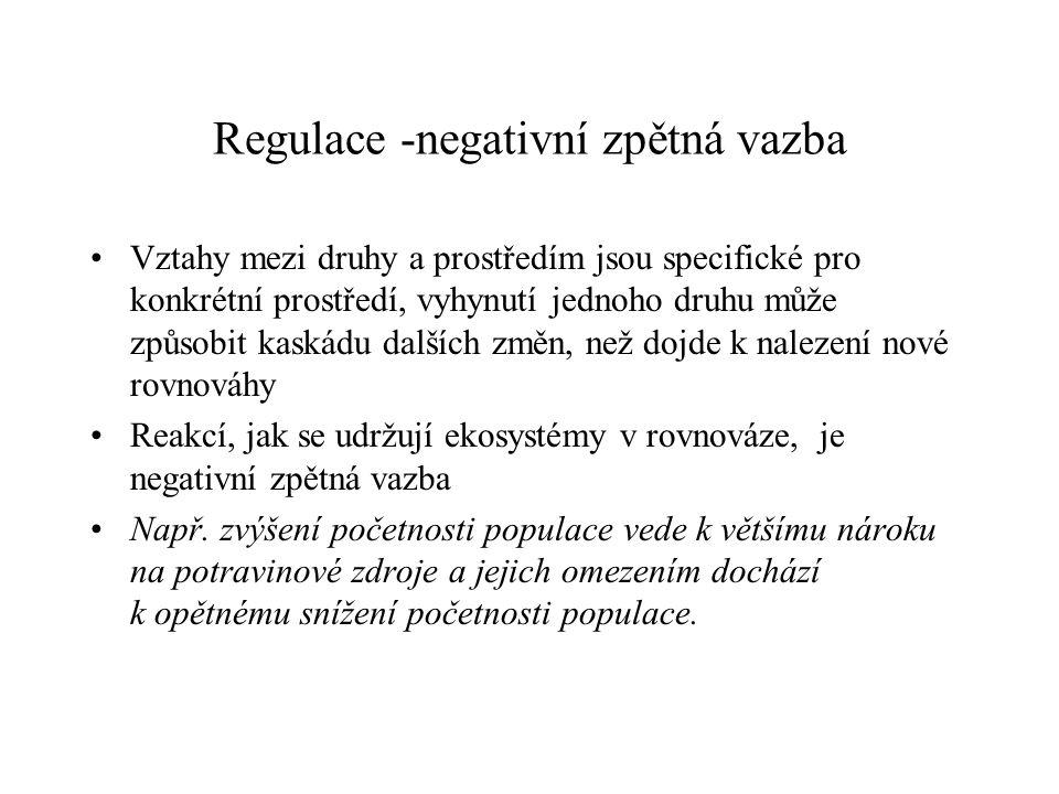 Regulace -negativní zpětná vazba Vztahy mezi druhy a prostředím jsou specifické pro konkrétní prostředí, vyhynutí jednoho druhu může způsobit kaskádu