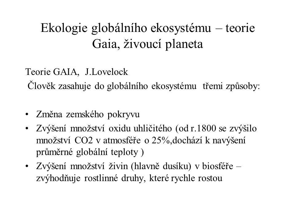Ekologie globálního ekosystému – teorie Gaia, živoucí planeta Teorie GAIA, J.Lovelock Člověk zasahuje do globálního ekosystému třemi způsoby: Změna ze