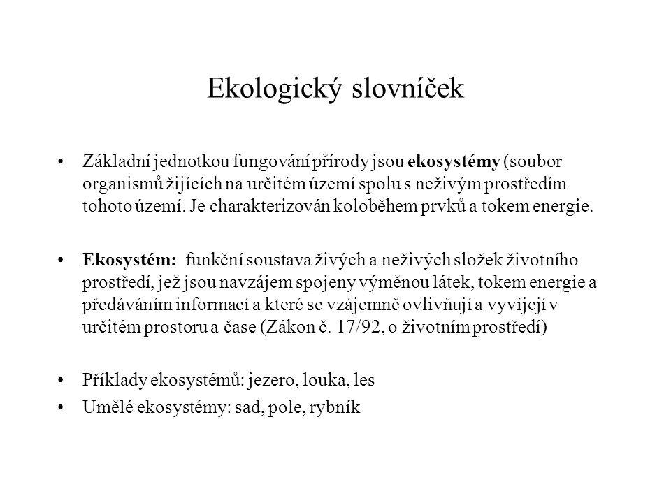 Ekologický slovníček Základní jednotkou fungování přírody jsou ekosystémy (soubor organismů žijících na určitém území spolu s neživým prostředím tohot