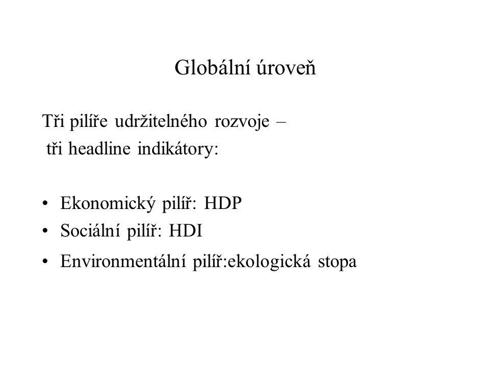 Globální úroveň Tři pilíře udržitelného rozvoje – tři headline indikátory: Ekonomický pilíř: HDP Sociální pilíř: HDI Environmentální pilíř:ekologická