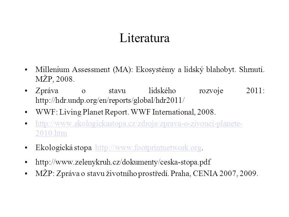 Literatura Millenium Assessment (MA): Ekosystémy a lidský blahobyt. Shrnutí. MŽP, 2008. Zpráva o stavu lidského rozvoje 2011: http://hdr.undp.org/en/r
