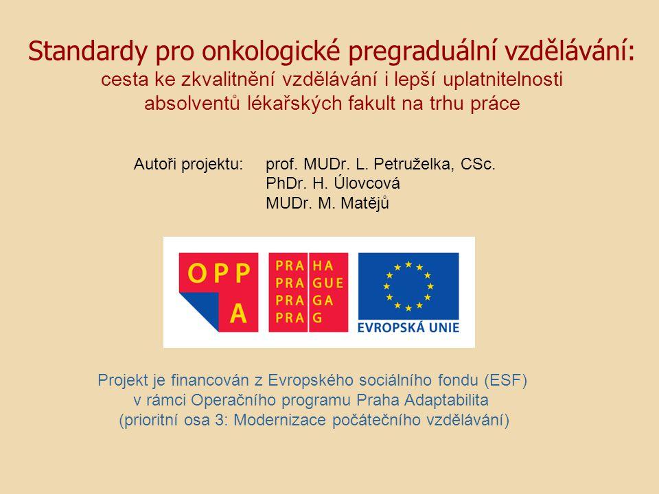 Autoři projektu: prof. MUDr. L. Petruželka, CSc. PhDr. H. Úlovcová MUDr. M. Matějů Projekt je financován z Evropského sociálního fondu (ESF) v rámci O