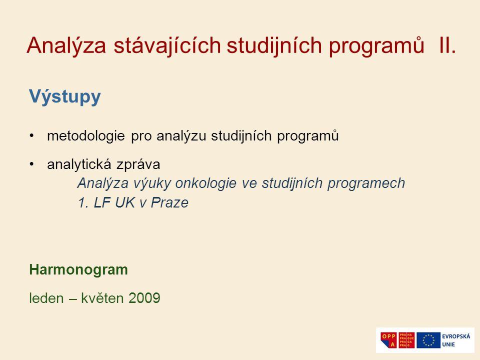 Analýza stávajících studijních programů II. Výstupy metodologie pro analýzu studijních programů analytická zpráva Analýza výuky onkologie ve studijníc