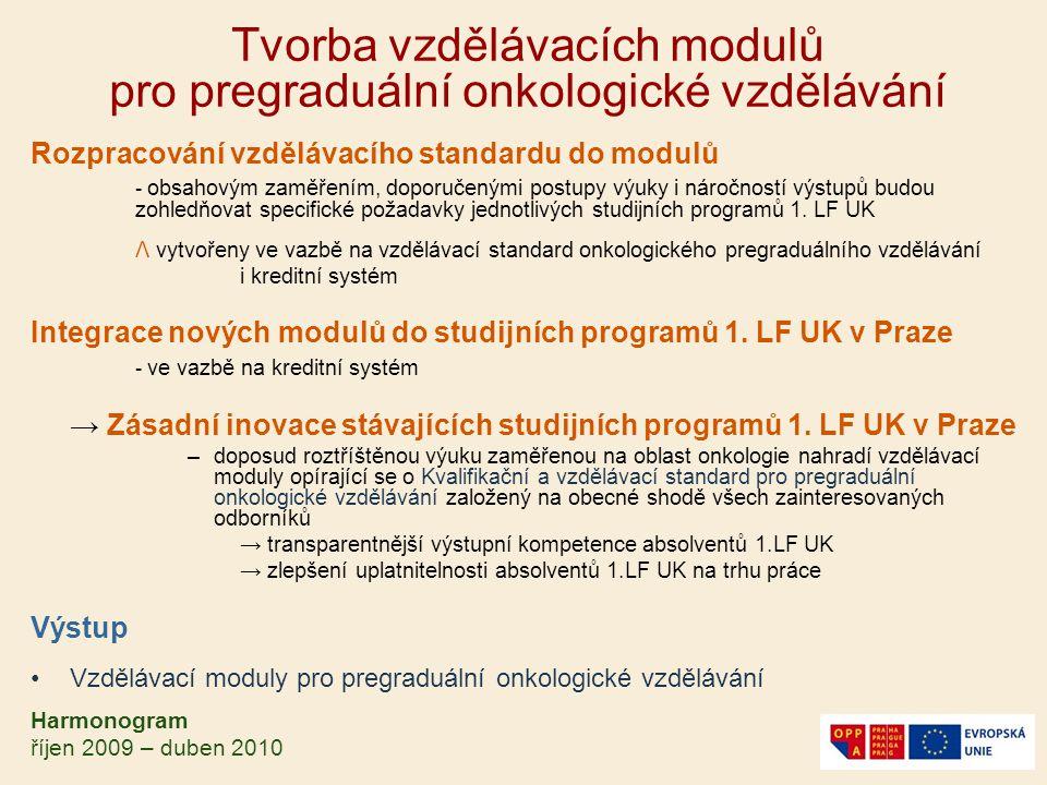 Tvorba vzdělávacích modulů pro pregraduální onkologické vzdělávání Rozpracování vzdělávacího standardu do modulů - obsahovým zaměřením, doporučenými p
