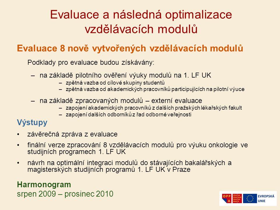 Evaluace a následná optimalizace vzdělávacích modulů Evaluace 8 nově vytvořených vzdělávacích modulů Podklady pro evaluace budou získávány: –na základ