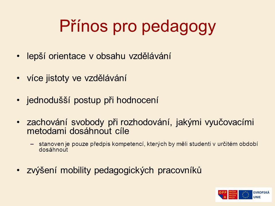 Přínos pro pedagogy lepší orientace v obsahu vzdělávání více jistoty ve vzdělávání jednodušší postup při hodnocení zachování svobody při rozhodování,