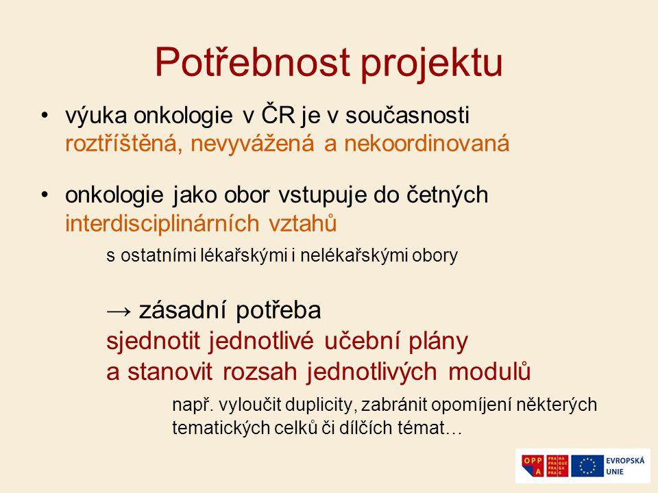 Potřebnost projektu výuka onkologie v ČR je v současnosti roztříštěná, nevyvážená a nekoordinovaná onkologie jako obor vstupuje do četných interdiscip