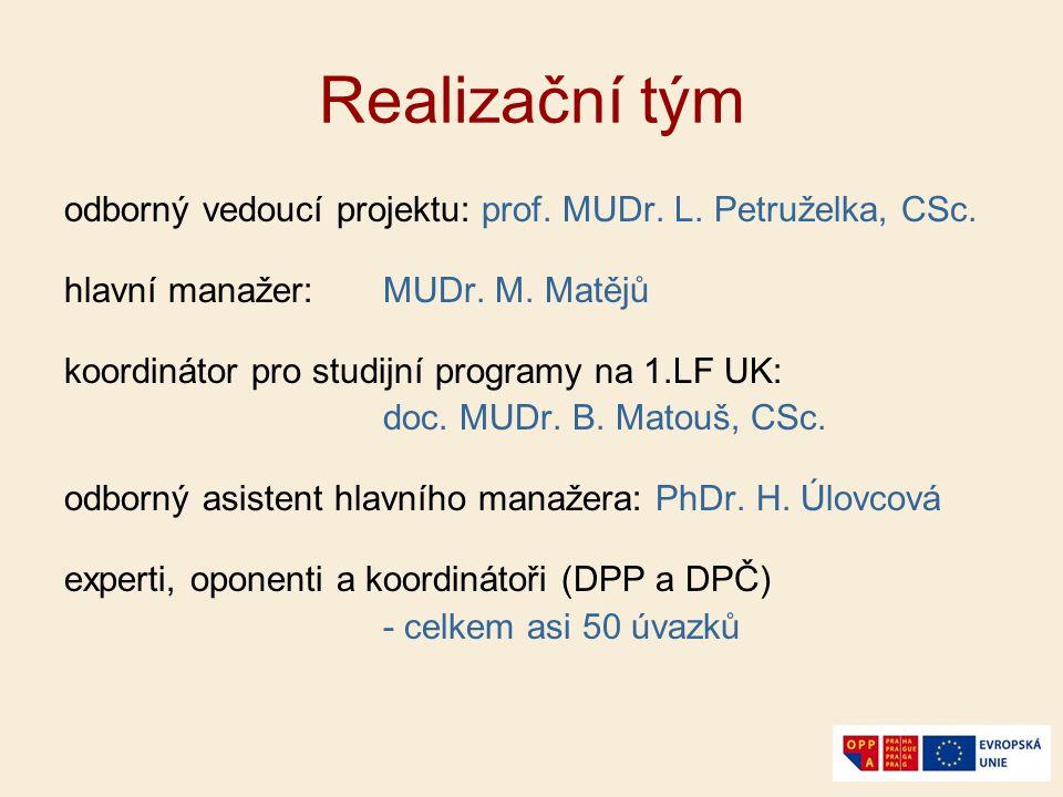 Realizační tým odborný vedoucí projektu: prof. MUDr. L. Petruželka, CSc. hlavní manažer: MUDr. M. Matějů koordinátor pro studijní programy na 1.LF UK:
