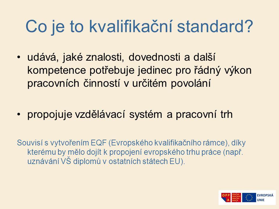 Co je to kvalifikační standard? udává, jaké znalosti, dovednosti a další kompetence potřebuje jedinec pro řádný výkon pracovních činností v určitém po