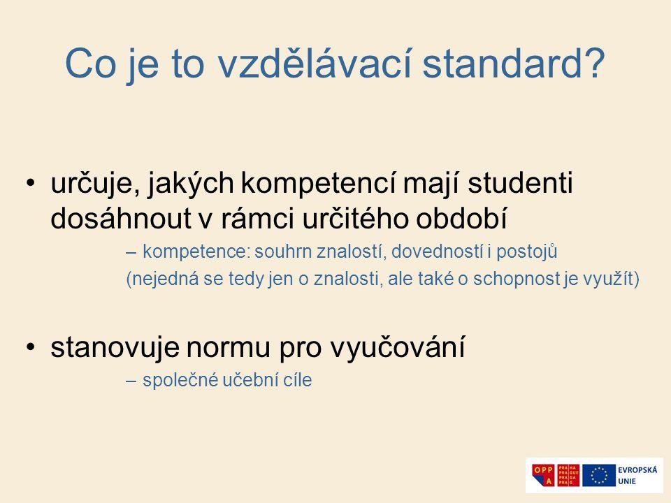 Co je to vzdělávací standard? určuje, jakých kompetencí mají studenti dosáhnout v rámci určitého období –kompetence: souhrn znalostí, dovedností i pos