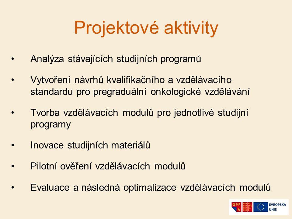 Projektové aktivity Analýza stávajících studijních programů Vytvoření návrhů kvalifikačního a vzdělávacího standardu pro pregraduální onkologické vzdě