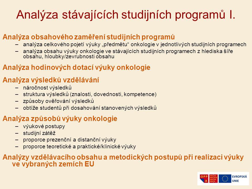 Analýza stávajících studijních programů II.