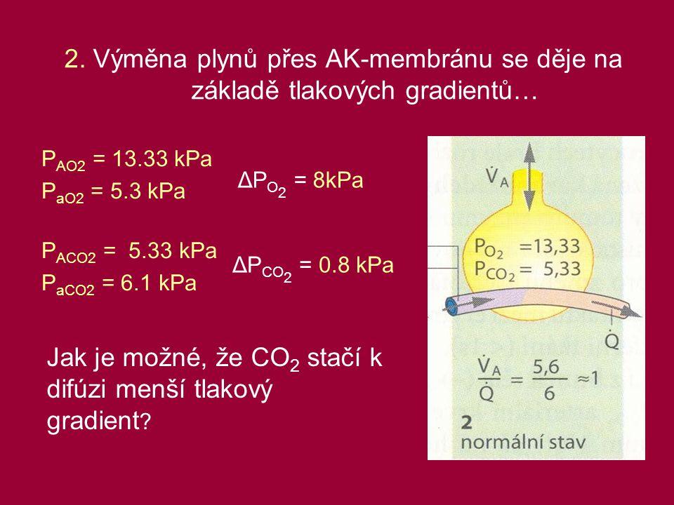 2. Výměna plynů přes AK-membránu se děje na základě tlakových gradientů… P AO2 = 13.33 kPa P aO2 = 5.3 kPa P ACO2 = 5.33 kPa P aCO2 = 6.1 kPa ΔP O 2 =