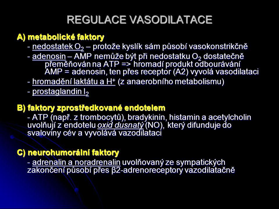 REGULACE VASODILATACE A) metabolické faktory - nedostatek O 2 – protože kyslík sám působí vasokonstrikčně - adenosin – AMP nemůže být při nedostatku O 2 dostatečně přeměňován na ATP => hromadí produkt odbourávání AMP = adenosin, ten přes receptor (A2) vyvolá vasodilataci - hromadění laktátu a H + (z anaerobního metabolismu) - prostaglandin I 2 B) faktory zprostředkované endotelem - ATP (např.