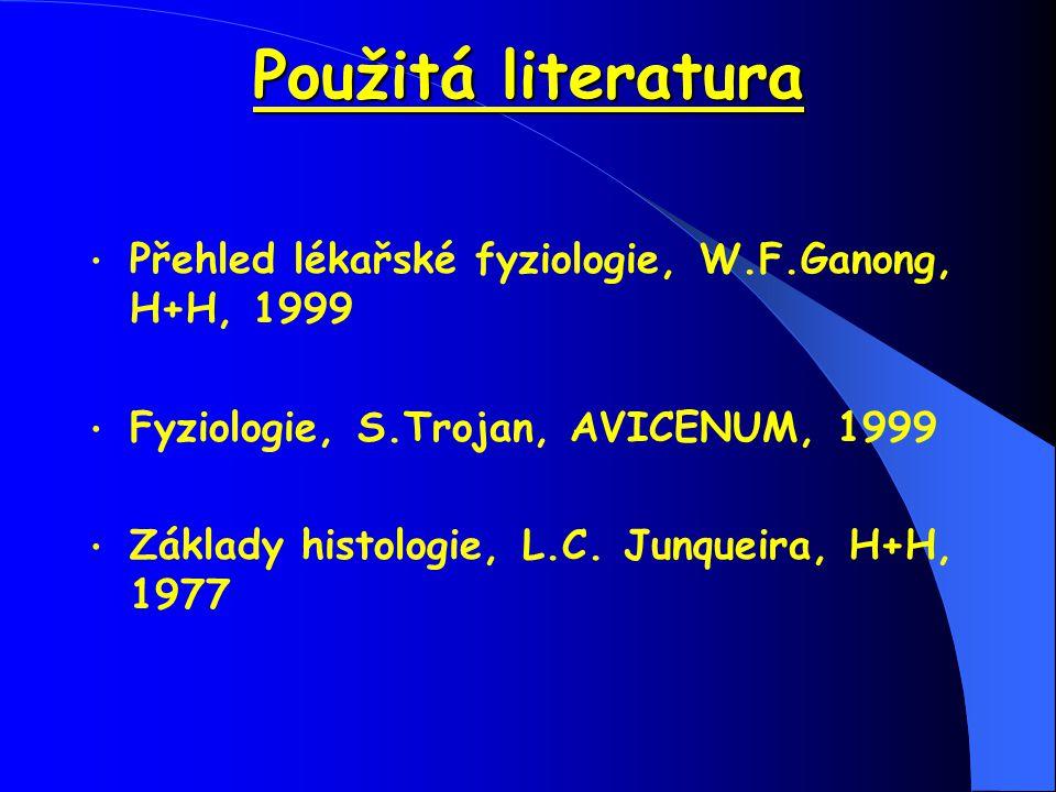 Použitá literatura Přehled lékařské fyziologie, W.F.Ganong, H+H, 1999 Fyziologie, S.Trojan, AVICENUM, 1999 Základy histologie, L.C. Junqueira, H+H, 19