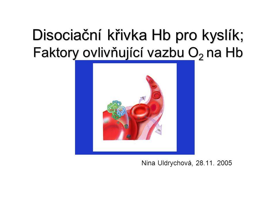 Spotřeba O 2,transport O 2  Spotřeba kyslíku u dospělého zdravého člověka : 250ml/min  1l krve musí transportovat 50ml O 2 při MV 5l/min  Výskyt O 2 v krvi : 1, fyzikálně rozpuštěný v plazmě (8,5ml O 2 /l krve) 2, vázaný na hemoglobin  V 1 litru krve : 156 g Hb 156 x 1,3 ~ 200ml O 2 /l krve  1g Hb váže přibližně 1,3ml O 2 Hodnota O 2 dodaná při MV celkově přesahuje množství kyslíku, které periferní tkáně utilizují.