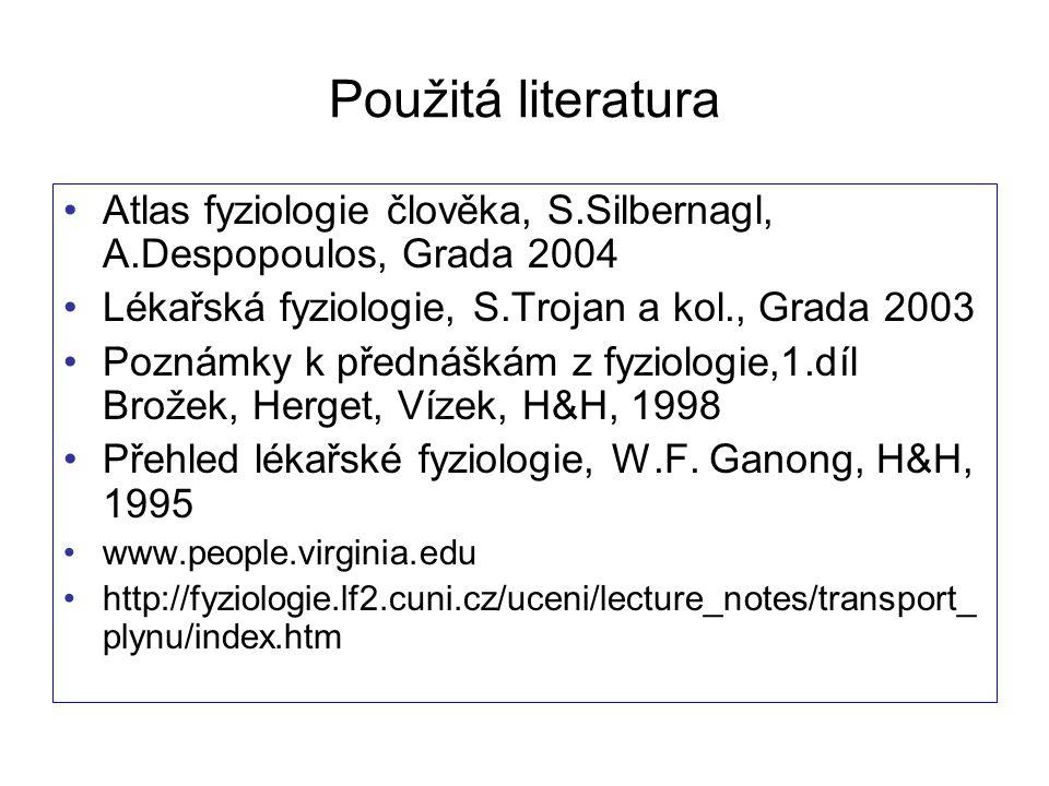 Použitá literatura Atlas fyziologie člověka, S.Silbernagl, A.Despopoulos, Grada 2004 Lékařská fyziologie, S.Trojan a kol., Grada 2003 Poznámky k předn