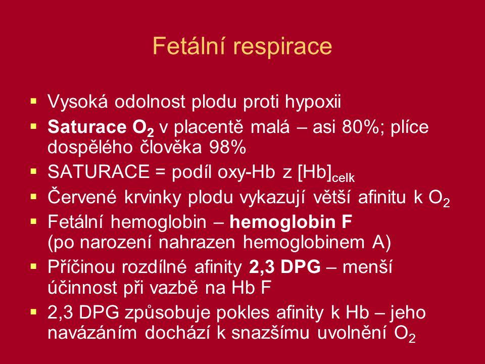 Fetální respirace  Vysoká odolnost plodu proti hypoxii  Saturace O 2 v placentě malá – asi 80%; plíce dospělého člověka 98%  SATURACE = podíl oxy-H