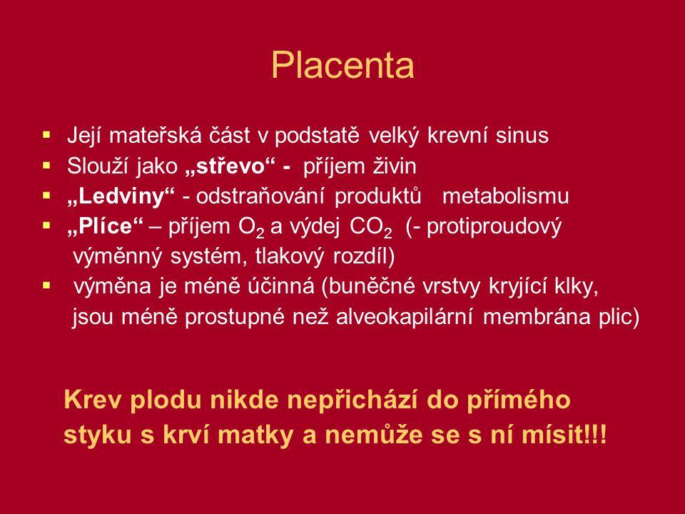 Porod  Příjem a výdej látek pomocí placenty náhle ukončen  Odpor v systémovém oběhu stoupá  Tlak v aortě stoupá, až převýší tlak v plícnici  V krvi stoupá P CO 2 - stimulace chemoreceptorů – stimulace dýchání  Inspirační pohyb je příčinou podtlaku v dutině hrudní: -30 – -50 mm Hg  Odsáta krev z v.umbillicalis a z placenty = placentární transfuze (až 100 ml krve)