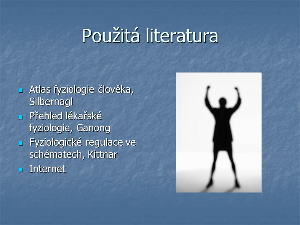Použitá literatura Atlas fyziologie člověka, Silbernagl Atlas fyziologie člověka, Silbernagl Přehled lékařské fyziologie, Ganong Přehled lékařské fyzi