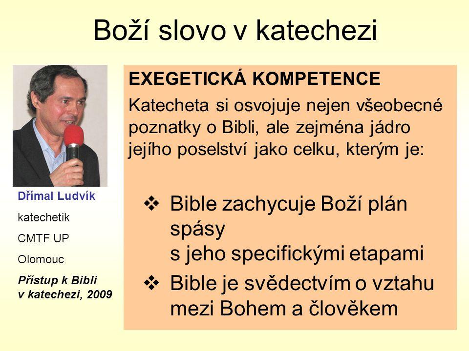 Boží slovo v katechezi EXEGETICKÁ KOMPETENCE Katecheta si osvojuje nejen všeobecné poznatky o Bibli, ale zejména jádro jejího poselství jako celku, kterým je:  Bible zachycuje Boží plán spásy s jeho specifickými etapami  Bible je svědectvím o vztahu mezi Bohem a člověkem Dřímal Ludvík katechetik CMTF UP Olomouc Přístup k Bibli v katechezi, 2009