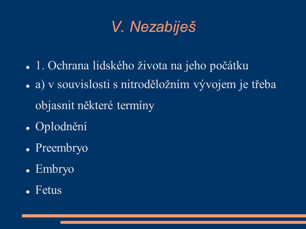 V. Nezabiješ 1. Ochrana lidského života na jeho počátku a) v souvislosti s nitroděložním vývojem je třeba objasnit některé termíny Oplodnění Preembryo