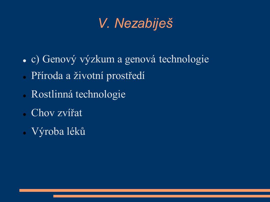 V. Nezabiješ c) Genový výzkum a genová technologie Příroda a životní prostředí Rostlinná technologie Chov zvířat Výroba léků