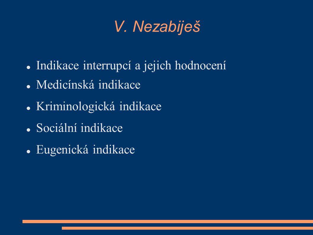 V. Nezabiješ Indikace interrupcí a jejich hodnocení Medicínská indikace Kriminologická indikace Sociální indikace Eugenická indikace