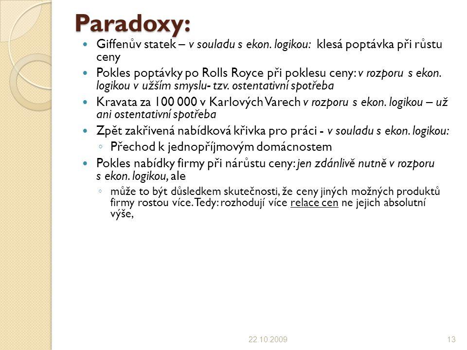 Paradoxy: Giffenův statek – v souladu s ekon.