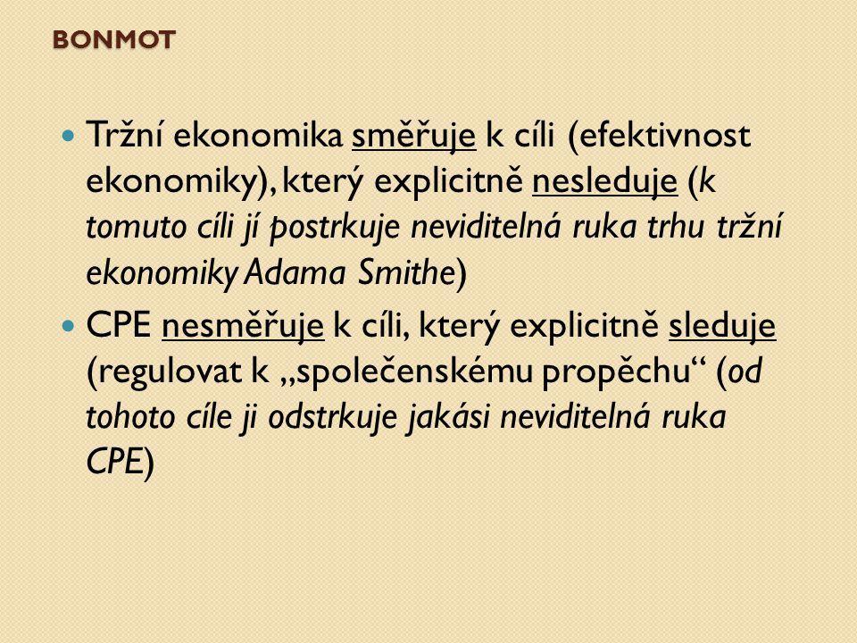 """BONMOT Tržní ekonomika směřuje k cíli (efektivnost ekonomiky), který explicitně nesleduje (k tomuto cíli jí postrkuje neviditelná ruka trhu tržní ekonomiky Adama Smithe) CPE nesměřuje k cíli, který explicitně sleduje (regulovat k """"společenskému propěchu (od tohoto cíle ji odstrkuje jakási neviditelná ruka CPE)"""