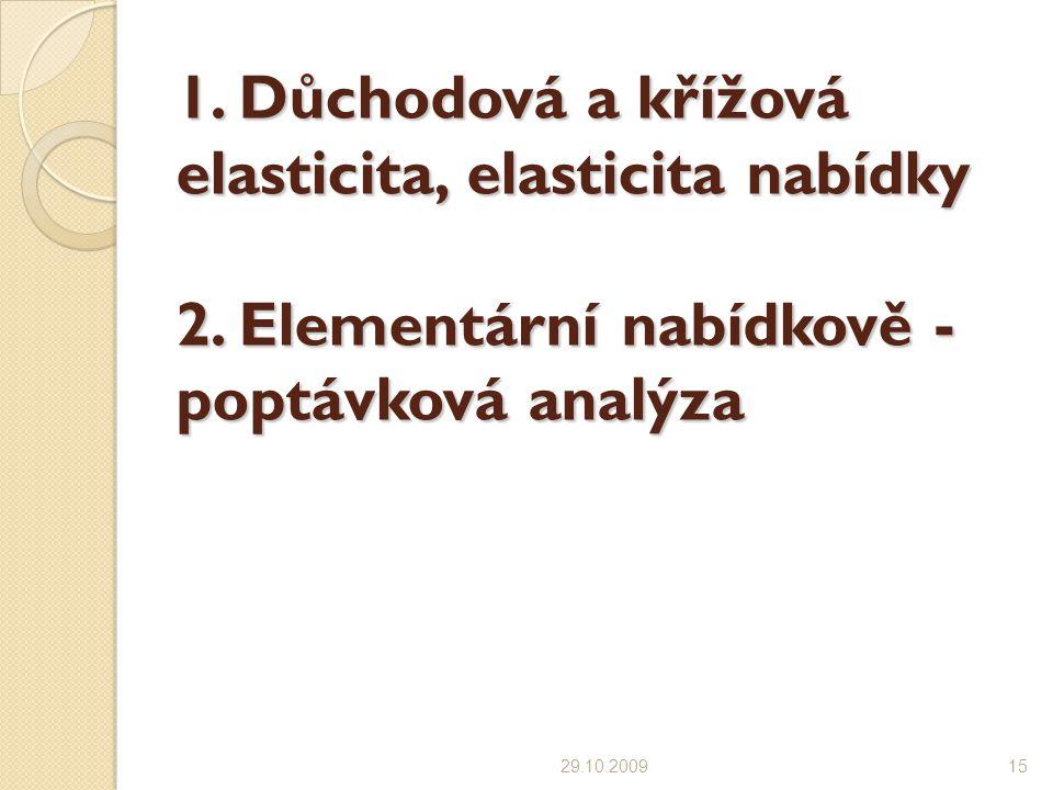 1.Důchodová a křížová elasticita, elasticita nabídky 2.
