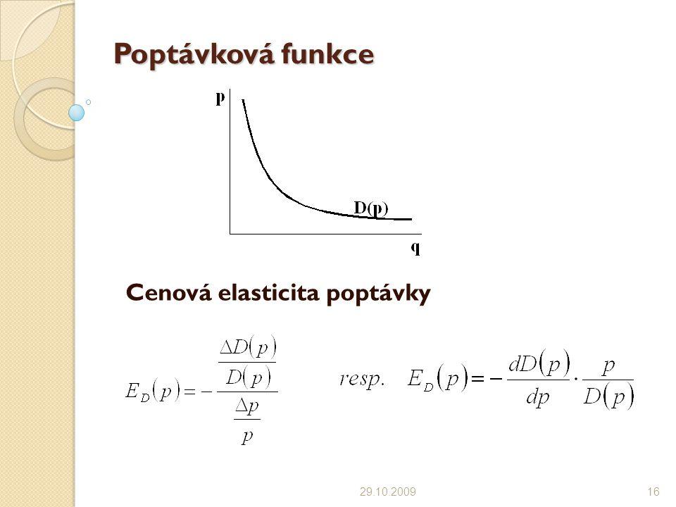 Poptávková funkce Cenová elasticita poptávky 29.10.200916