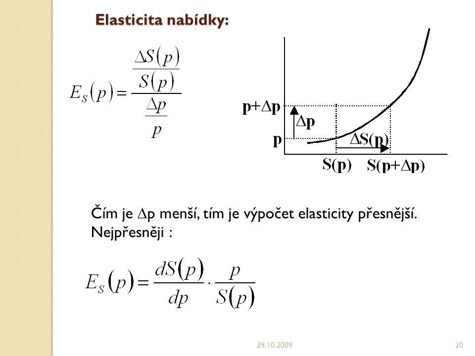 Elasticita nabídky: 29.10.200920 Čím je  p menší, tím je výpočet elasticity přesnější.