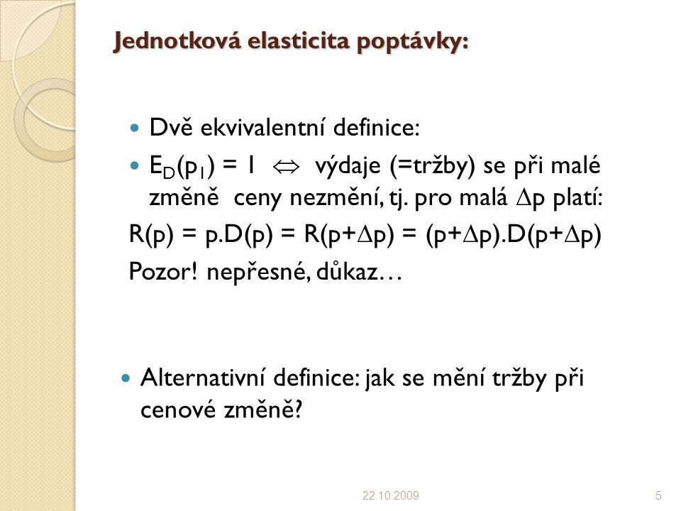 Jednotková elasticita poptávky: Dvě ekvivalentní definice: E D (p 1 ) = 1  výdaje (=tržby) se při malé změně ceny nezmění, tj.