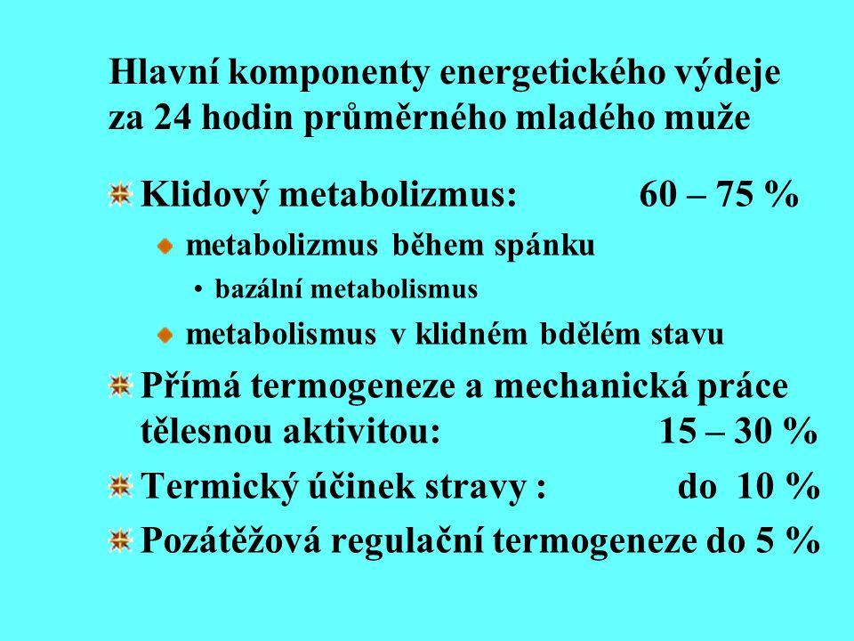Hlavní komponenty energetického výdeje za 24 hodin průměrného mladého muže Klidový metabolizmus: 60 – 75 % metabolizmus během spánku bazální metabolis