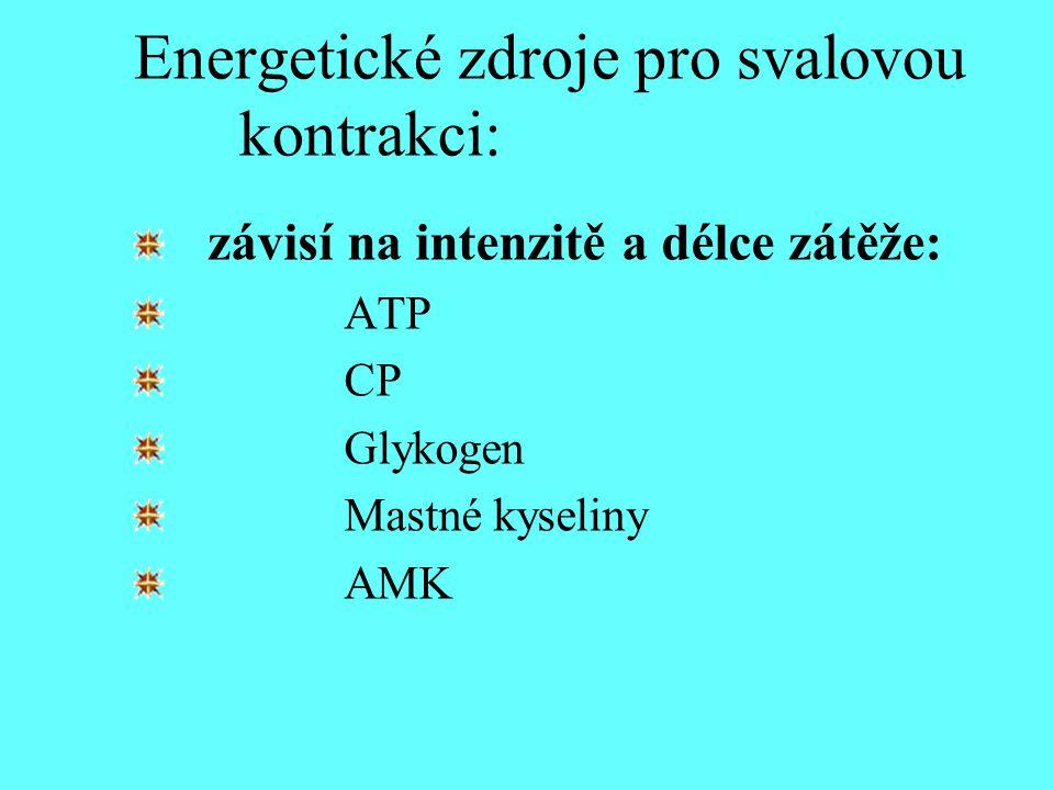 Energetické zdroje pro svalovou kontrakci: závisí na intenzitě a délce zátěže: ATP CP Glykogen Mastné kyseliny AMK