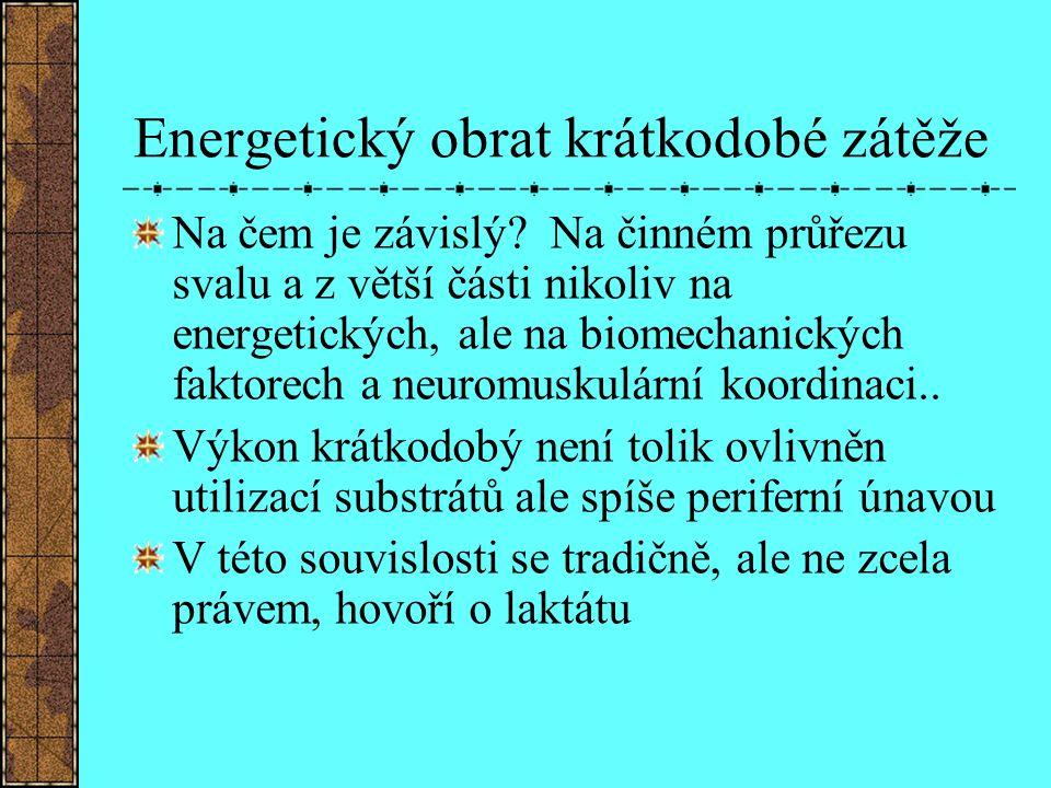 Energetický obrat krátkodobé zátěže Na čem je závislý? Na činném průřezu svalu a z větší části nikoliv na energetických, ale na biomechanických faktor